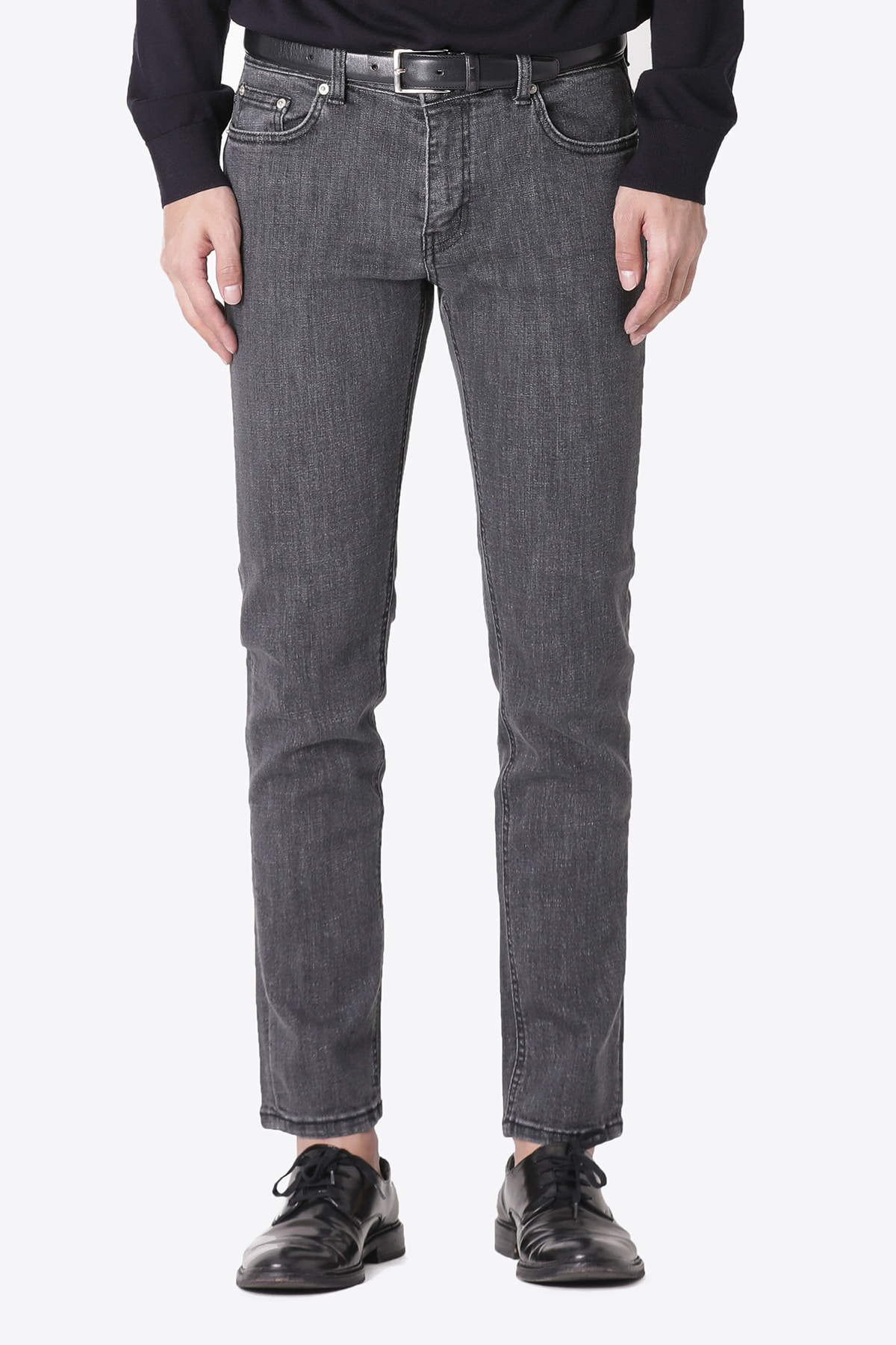 페이탈리즘 #0167 charcoal grey washed slim crop fit