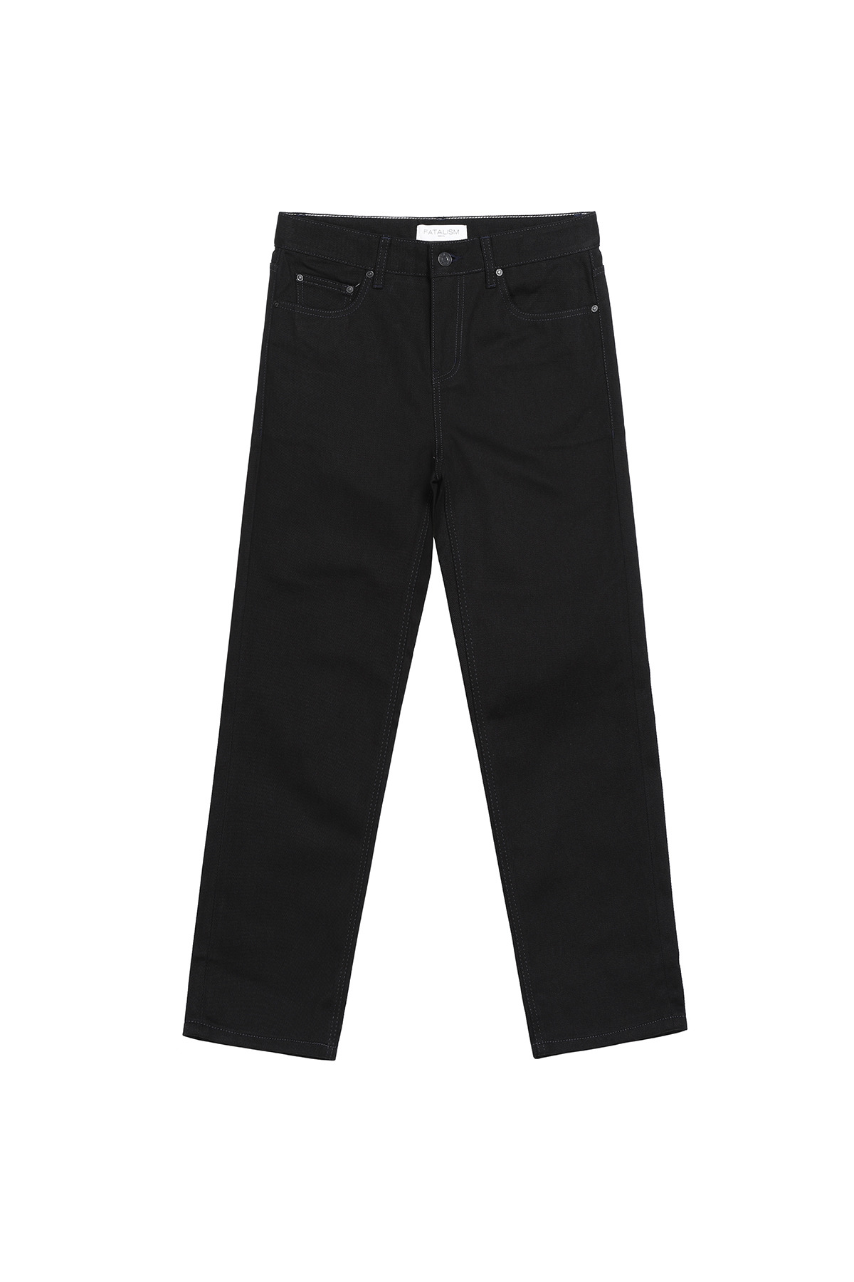 페이탈리즘 #0202 Matt black standard crop fit (navy stitch)