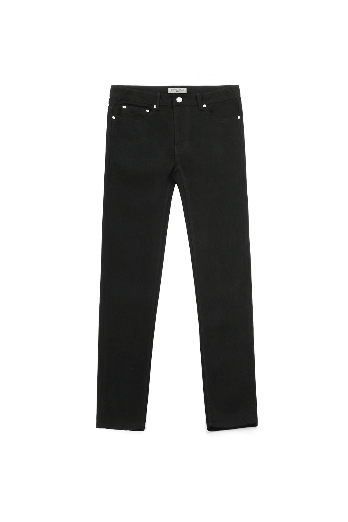 페이탈리즘 #0218 Black straight crop jean