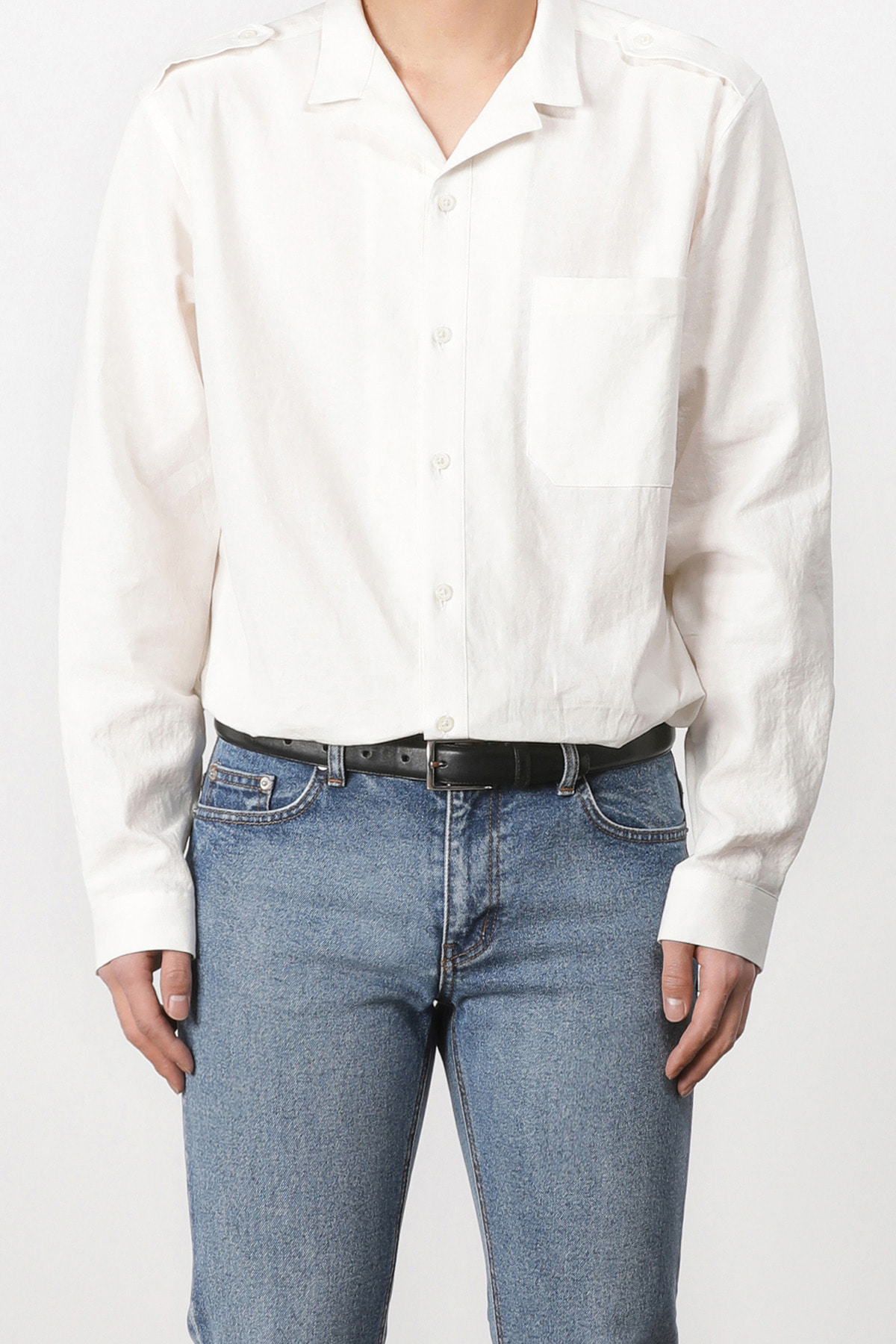 페이탈리즘 #jp42 Nakama open collar shirt (white)