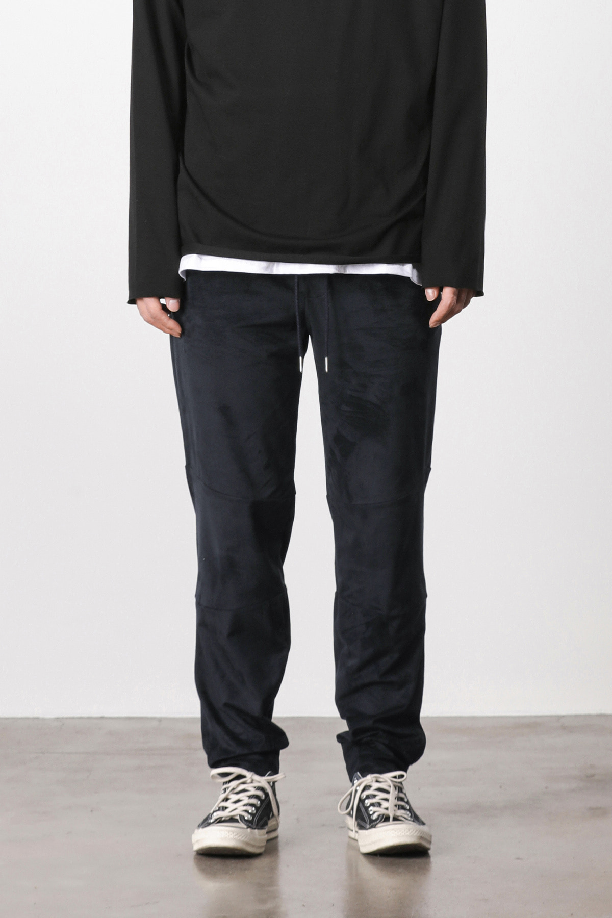 페이탈리즘 #jp06 Suede loose fit pants (navy)