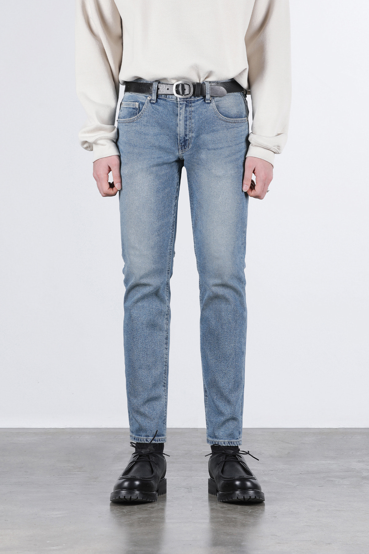 페이탈리즘 #0209 easy blue slim crop jeans