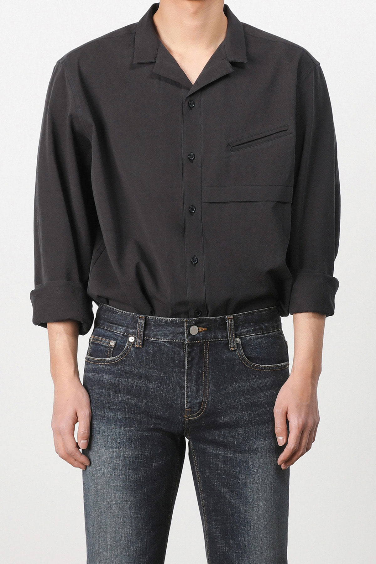 페이탈리즘 Ishinomaki open collar shirt (black) #jp34