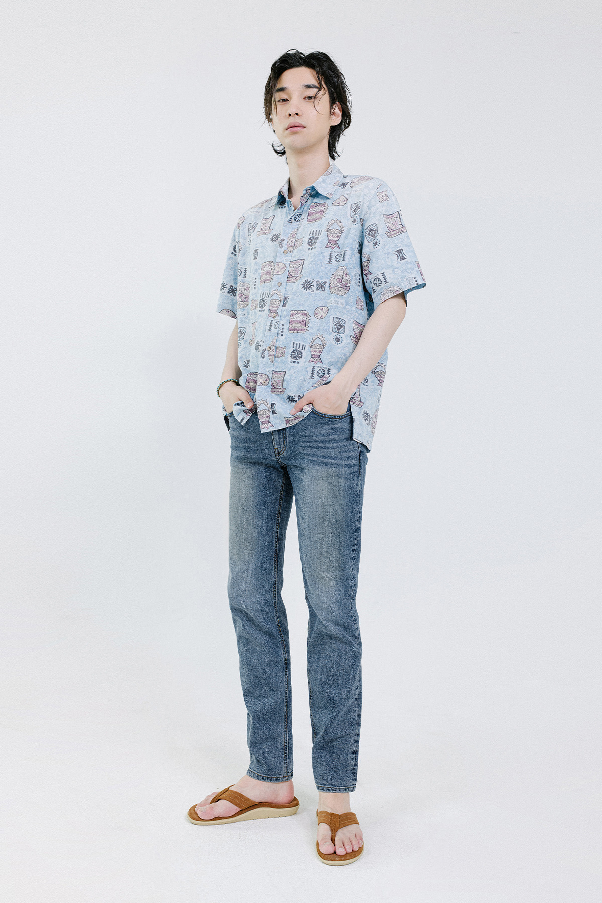 페이탈리즘 #0085 greysh blue crop jeans
